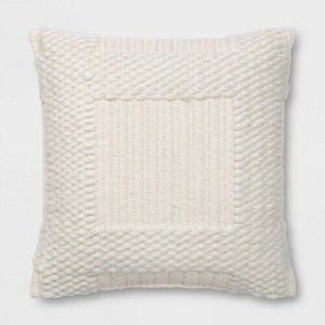 NWOT Woven Chunky Check Square Throw Pillow Cream